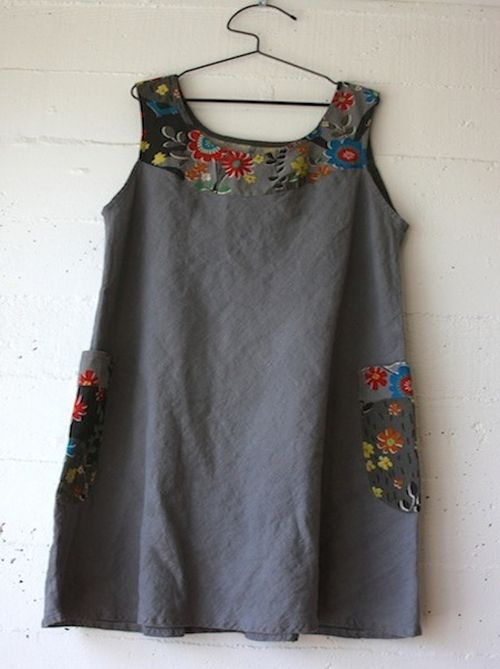 By Sonya Philip and 100 Acts of Sewing. Bias cut linen and Japanese cotton-linen print at yoke and pockets.
