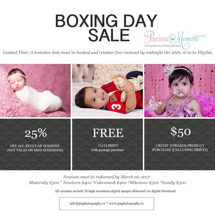 Boxing Day Sale...Only until midnight tonight (Dec 26th/16), tentative dates must be booked an retainer fees recieved before midnight.  25% off all regular full sessions.  Sessions include: 20 digital images and a FREE 11x14 print from your session.  Only until midnight. #brampton #bramptonphotographer #bramptonbabyphotographer #photographer #newbornphotographer #bramptonnewbornphotographer #mississagua #mississaguaphotographer #mississaguababyphotographer