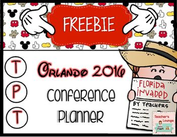 Are you ready for the TpT conference in Orlando? This FREEBIE will help you to get organized!Included:Packing ListTravel Information: Flight/Transportation/HotelSession Schedule Day 1 Session Schedule Day 2Contact Information Session Notes (4 Template Choices)The above pages are in color and B&W