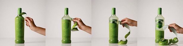 """JWT Brazil wrapped each bottle with the texture of the fruit flavor (lime, passion fruit and strawberry) inside and used a diagonal perforation to let customers peel away the outer """"skin"""". For a select mailing list, JWT even sent packaged Smirnoff Caipiroska sets in wooden produce crates."""