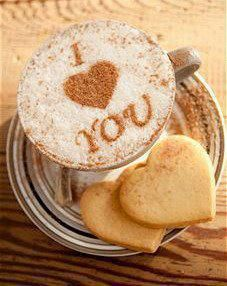 Cappuccino and heart cookies,,,¿¿¿¿¿¿ ?????????**+