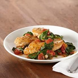 Herb Chicken Skillet with Spinach and Tomatoes