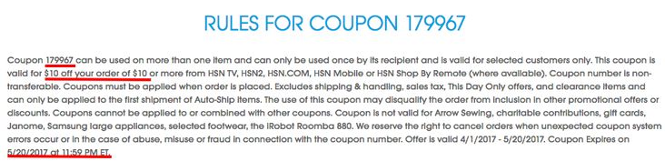 HSN $10 off $10 purchase + more