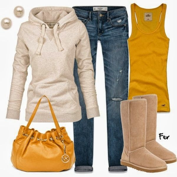 Winter and fall women fashion outfit. Not an Ugg person. I'd wear this with Mucks....