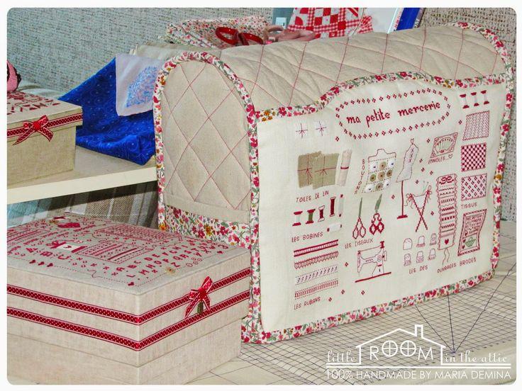 Комнатка с мансардой / Little room in the attic: Чехол для швейной машинки с вышитым французским сэмплером / Sewing machine cover with cross-stitched French sampler