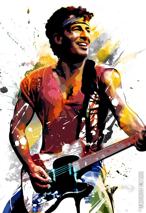 BRUCE SPRINGSTEEN, Rock and Roll, music art, Celebrity portait, illustration, Poster size art print available in multiple sizes.