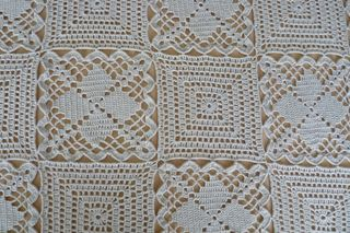 A Bedspread, made from two motifs - filet squares ~ free pattern