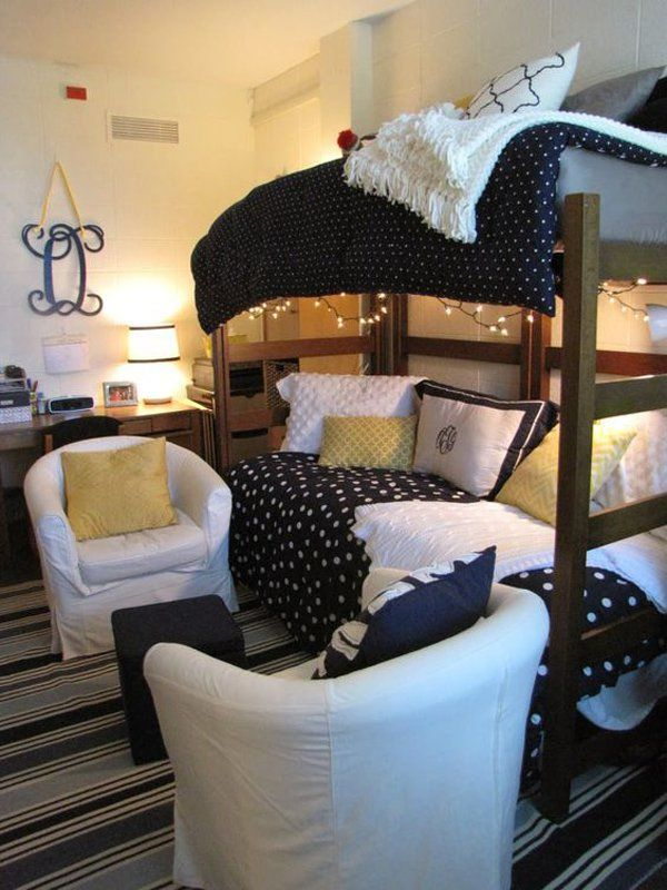 Instead of having two beds, you and your roomie could enjoy a bunk bed. But not the one that could get so boring. Try with fluffy comforters, lights and extra pillows for more comfort. The side for the other bed could leave space for two cozy chairs where you can hang out or study. #Home #Decor