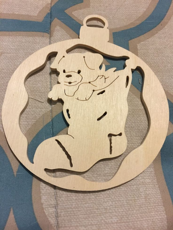 Scroll sawn round wooden stocking with puppy christmas tree ornament by specialtiescrafts on Etsy