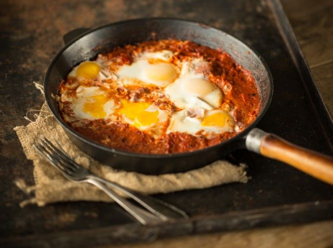 Shakshuka_Pochierte Eier in scharfer Tomatensauce