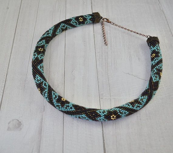 Necklace tube seed beads necklace turquoise by SzkatulkaAmi