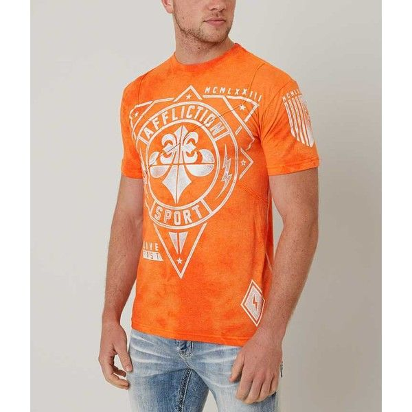 Affliction Geo Sport T-Shirt - Orange Small ($46) ❤ liked on Polyvore featuring men's fashion, men's clothing, men's shirts, men's t-shirts, orange, mens orange t shirt, mens long sleeve shirts, mens distressed shirt, mens sport t shirts and affliction mens t shirts