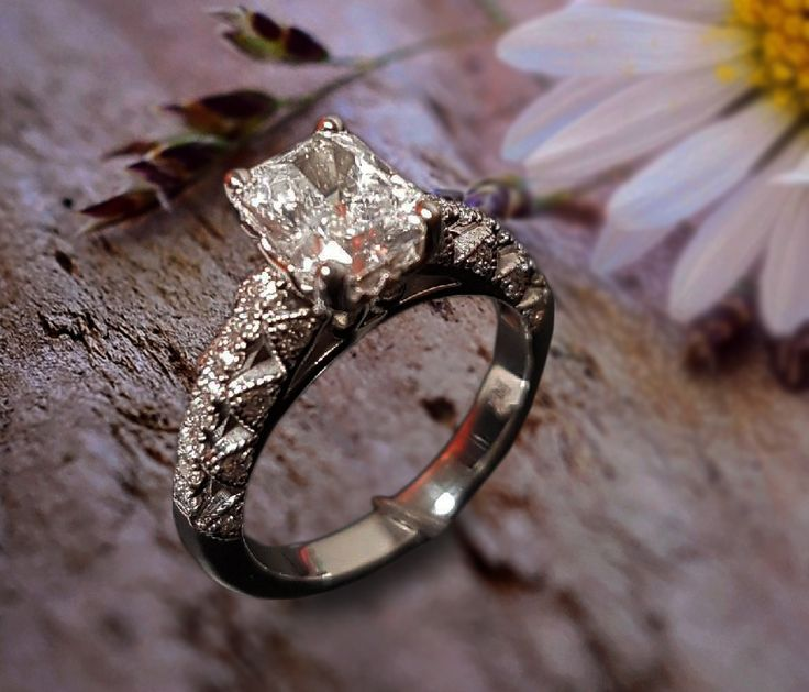 Linara Antique Style Hand-Engraved Emerald Cut with Pavé Accents in Platinum