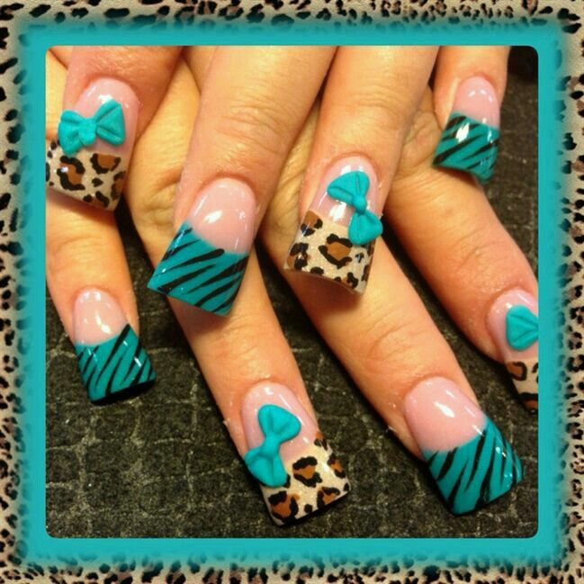 Cheetah & Zebra nail art