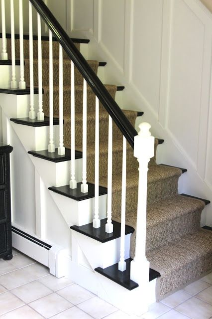 Interior, : Simple And Neat Picture Staircase Design Using Natural  Staircase Runner Along With White Wood Staircase Spindles And Black Wood  Staircase ...