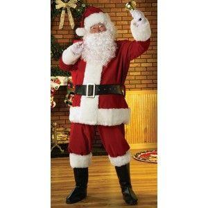 Costume Père Noël Luxe Santa Claus Adulte Costume Père Noël Luxe Rouge Extra Large Regal 7 pièces avec Barbe, Perruque, Ceinture, Couvre-bottes livré sous housse à zip réutilisable.