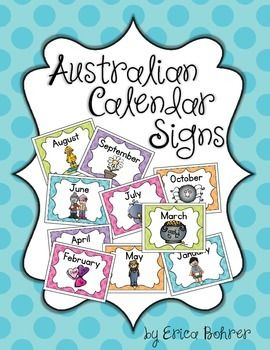 This download is for FREE Australian Calendar Month Signs and mini signs.  This freebie goes with my Ultimate Bright Polka Dot Decor Packet.    Thanks for your interest!  I hope you check out my other  Bright Polka Dot Decor Items.  Happy Teaching! Erica Bohrer