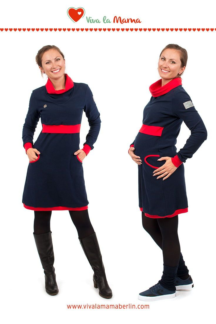 Viva la Mama Stillkleid 3in1 Umstandskleid Winterkleid aus Baumwolle Neele