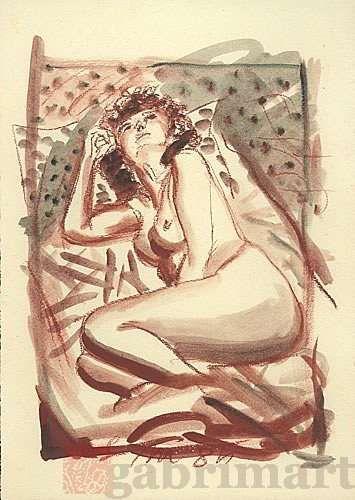 """""""Piccolo ritratto"""", sanguigna e pastelli su carta sottile paglierina, 1985, cm 25×35"""
