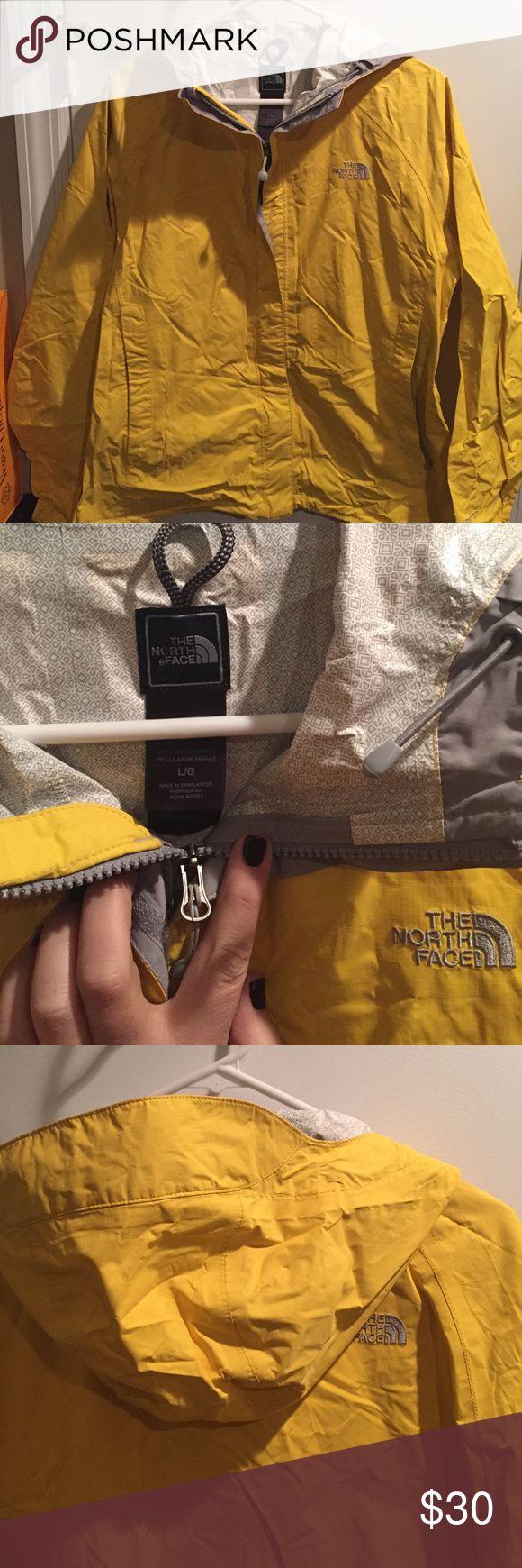 North Face rain jacket Bright yellow women's rain coat. Size large. Like new! The North Face Jackets & Coats