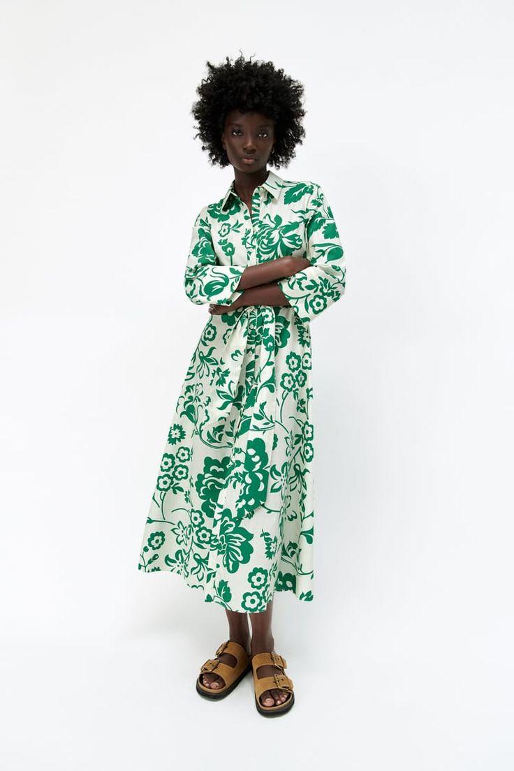 GEMUSTERTES POPELINKLEID in 20   Midi dress with sleeves, Poplin ...