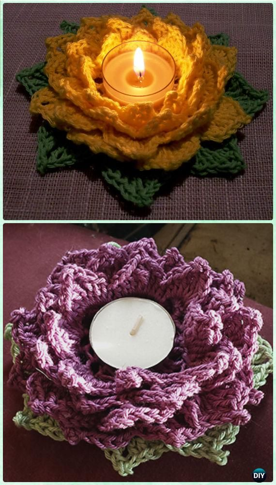 Crochet Lotus Tealight Holder Free Pattern By Daniela Herbertz