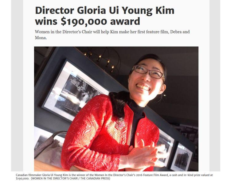 Gloria Ui Young Kim wins WIDC Feature Film Award | $190K Prize Announced   https://www.widc.ca/gloria-ui-young-kim-wins-widc-feature-film-award-190k-prize-announced/  Photo credit: https://www.thestar.com/entertainment/movies/2016/11/22/director-gloria-ui-young-kim-wins-190000-award.html
