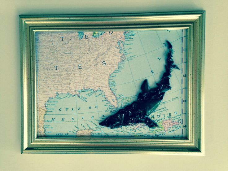 """Shark tooth Art!! Shark made of shark teeth on """"East coast map"""" in a rustic frame!! Available for purchase at www.etsy.com/shop/TwoGirlsandaBoat"""