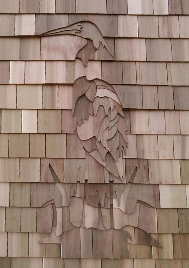 awesome shingle designs #5: Heron or Egret shingle art at the Meigs Point Nature Center in Madison, CT  http