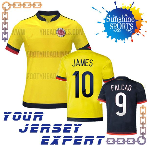 Encontrar Más Camisetas Información acerca de 2015 nueva Colombia Jersey amarillo 15 16 FALCAO JAMES Jersey de fútbol camiseta de fútbol azul negro ausente AGUILAR uniforme de entrenamiento, alta calidad Camisetas de Charming Jersey en Aliexpress.com