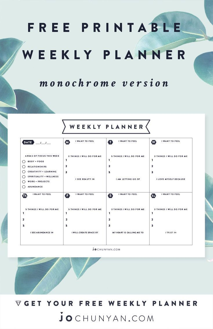 FREE PRINTABLE WEEKLY PLANNER :: Create a week infused with Consciousness, Connectedness & Intuition. Available in Monochrome & Colour versions. Download it http://www.jochunyan.com
