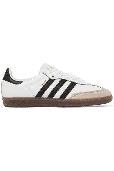 adidas Originals - Samba Suede-trimmed Leather Sneakers - White - US8.5