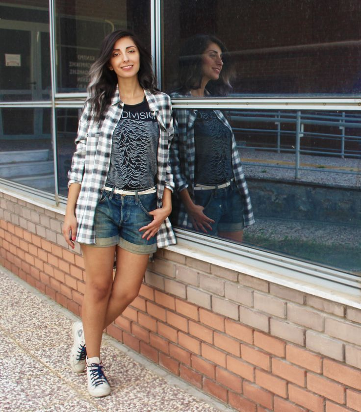 #flannel #denim #shorts #school #outfit #outfits #look #casual #everyday #fall