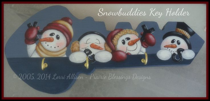 Snowmen wood Key Holder painting pattern packet instant