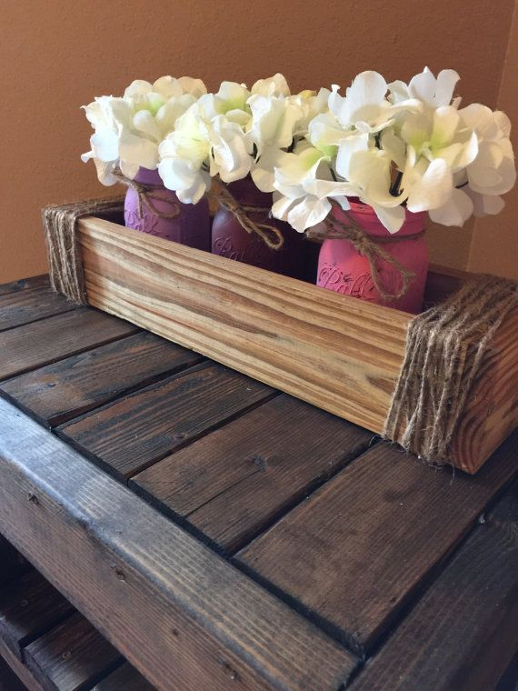 Planter Box with 3 Painted Mason Jars  by RusticDecorAndMore15