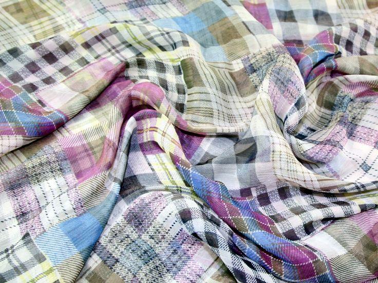 Patchwork Plaid Shimmer Crinkle Chiffon Dress Fabric Pink | Fabric | Dress Fabrics | Minerva Crafts