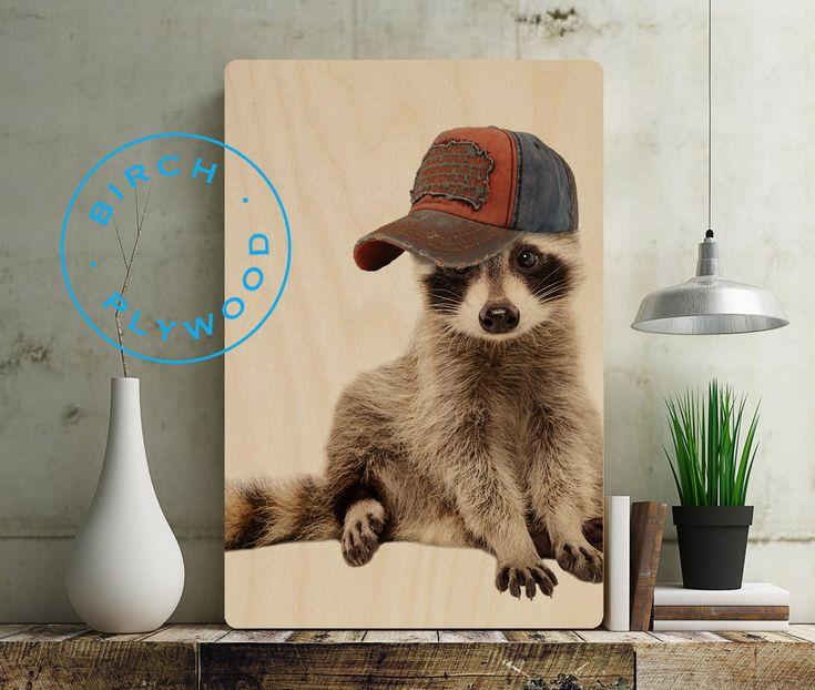 RACCOON PRINT - Print on Wood, Raccoon Art, Raccoon Poster, Baby Raccoon, Nursery Animal Print, Woodland Animals, Nursery Wall Decor by InHouseArtistLoft on Etsy