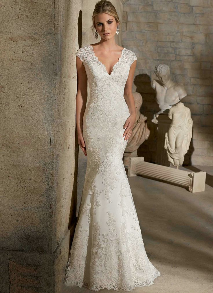 Find More Wedding Dresses Information about Ivory Lace Wedding Dress Buttons Down the Back V neck Sleeveless Cap Sleeve Lace Wedding Dress Mermaid 2015,High Quality dress patterns prom dresses,China dress for less prom dresses Suppliers, Cheap dress kitten from Love Forever Wedding Dress Factory  on Aliexpress.com