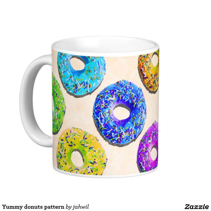 #donut #yummydonut #funnydonutpattern #sweet #dessert #mug #funnymug Yummy donuts pattern classic white coffee mug
