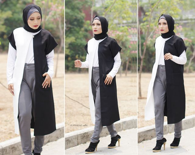 Monochrome Hijab Style, with black maxi outwear.