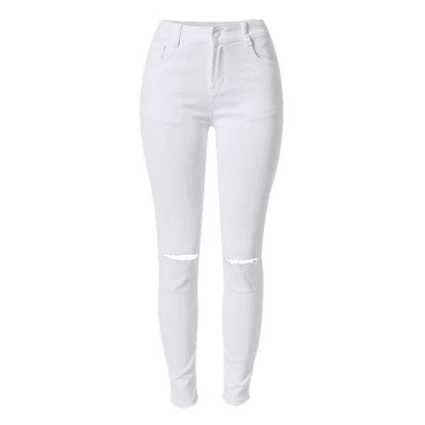 White Ripped Skinny Jeans Lookbook Store ($31) ❤ liked on Polyvore featuring jeans