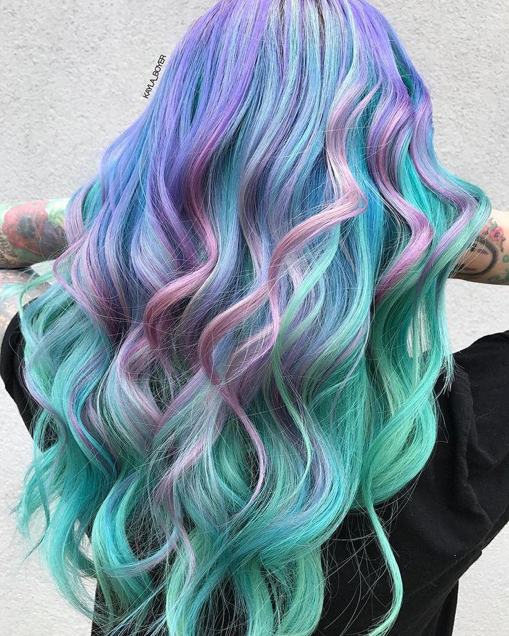 "2,900 Likes, 45 Comments - HAIR & MAKEUP BY KAYLA BOYER (@kayla_boyer) on Instagram: ""💕💖✨ Fairy pastel hair dreams ✨💖💕using @pravana pastels in luscious lavender, mystical mint,…"""