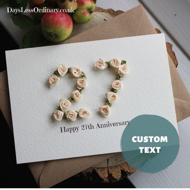 27th Wedding Anniversary Handmade Card Wife, Custom