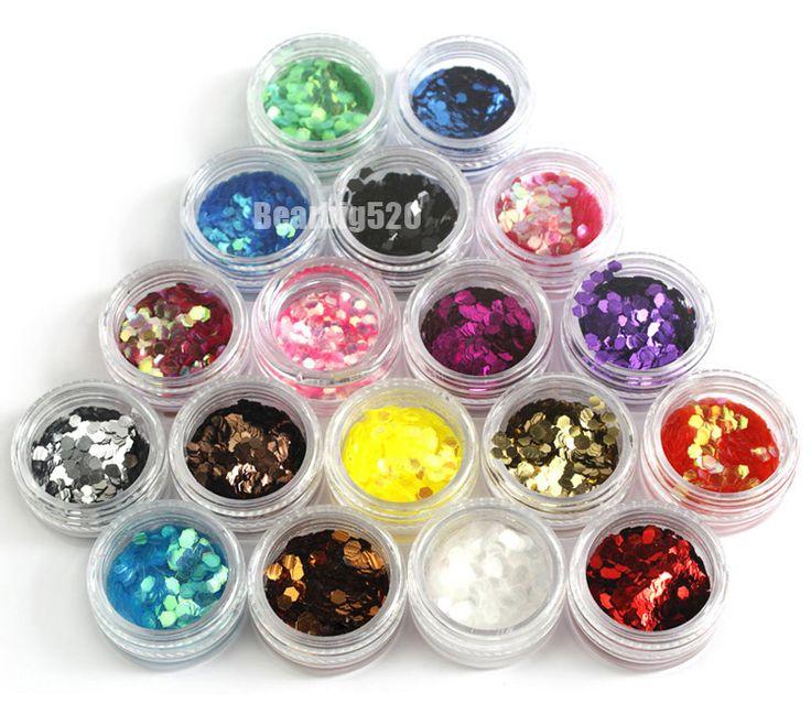 Новый 18 Цветов Большой Шестигранной Блестками Украшения Искусства Ногтя Nail Art Блеск Порошок Ногтей Наращивание Ногтей инструменты