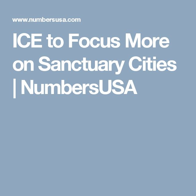 ICE to Focus More on Sanctuary Cities   NumbersUSA