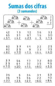 Suma de 2 cifras y 3 sumandos