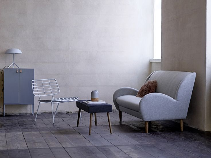 CHILL Sofa From Bloomingville In Light Grey New Zealand Wool And Legs In  Smoked Oak.