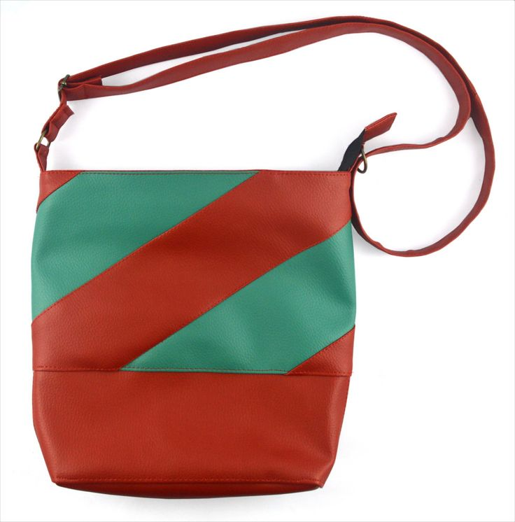 Hypnotizing handbag! Handmade unique red and turquoise tube bag for ladies handmade of faux leather by YapokBags on Etsy