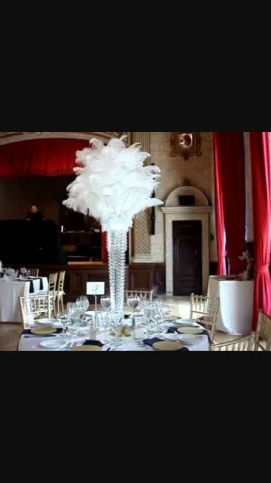 Best white ostrich feather centerpieces images on