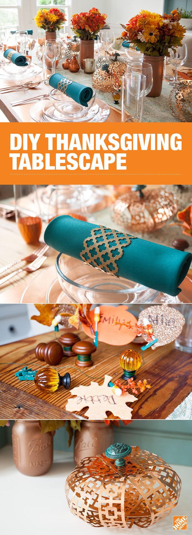 Give your guests something to feast their eyes on with this elegant DIY Thanksgiving tablescape. Use Liberty knobs to create chic copper pumpkins and custom place cards and decorative metal sheet to create stylish napkin rings. Click to visit our blog and learn how you can create this simple yet modern look.